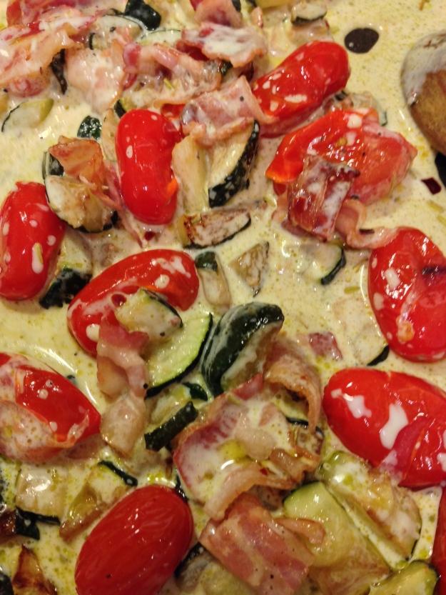 Dreamy creamy zucchini pancetta pasta...