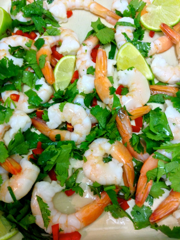 Lime and coriander prawns....sex on a plate....