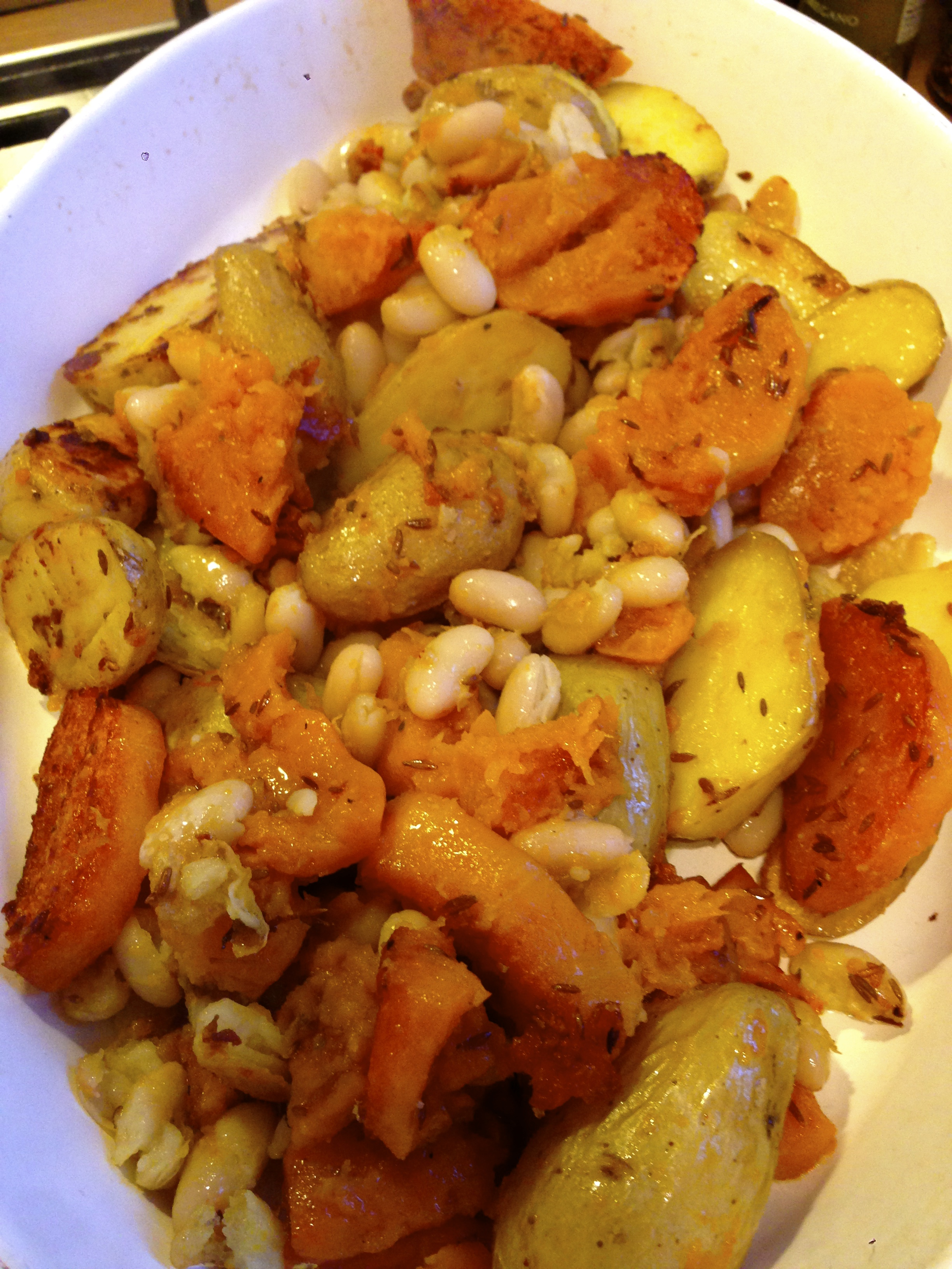 Cumin roasted and fried squash, potatoes and cannellini beans...