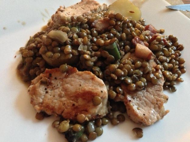 Pan fried pork tenderloin with Puy lentils...