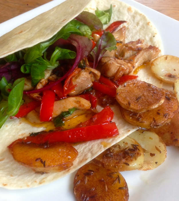 Chicken Pepper Wrap with Cumin Crisps