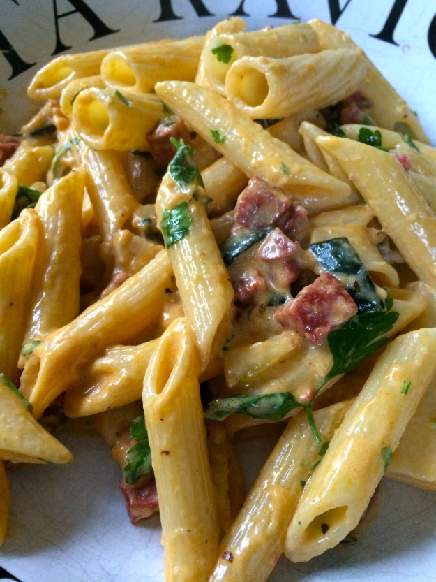 Courgette & chorizo pasta a la crema...
