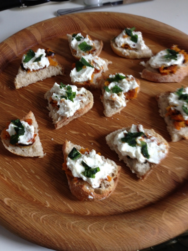Squash and ricotta crostini..